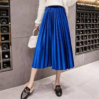 Женская длинная плиссированная бархатная юбка Coardiarn синяя (электрик), фото 1