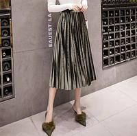 Женская длинная плиссированная бархатная юбка Coardiarn зеленая, фото 1