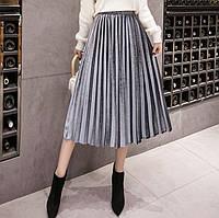 Женская длинная плиссированная бархатная юбка Coardiarn серая, фото 1