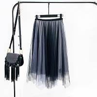 Женская длинная плиссированная юбка Coardiarn из фатина Градиент серая, фото 1