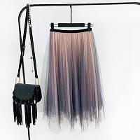 Женская длинная плиссированная юбка Coardiarn из фатина Градиент розовая, фото 1