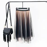 Женская длинная плиссированная Coardiarn юбка из фатина Градиент бежевая, фото 1