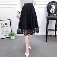Женская длинная ажурная юбка Coardiarn на подкладке черная, фото 1