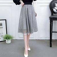 Женская длинная ажурная юбка Coardiarn на подкладке серая, фото 1