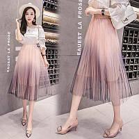 Женская длинная плиссированная юбка Coardiarn из фатина на подкладке розовая, фото 1
