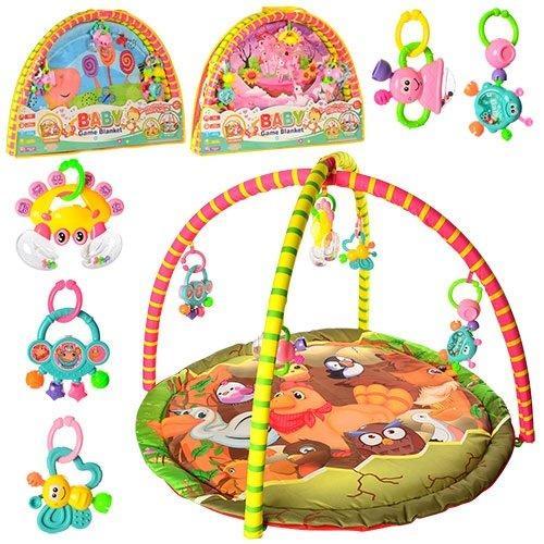 KM325-66-68 Коврик для младенца -69  81-81cм,дуга2шт,подвески-погремуш5шт,3вид,в сумке,82-58-6см