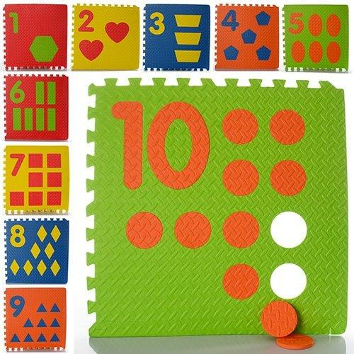 KMM0384 Коврик Мозаика M 0384  EVA, цифры, 10дет 60-60см, 8мм, в кульке,62,5-62,5-9см