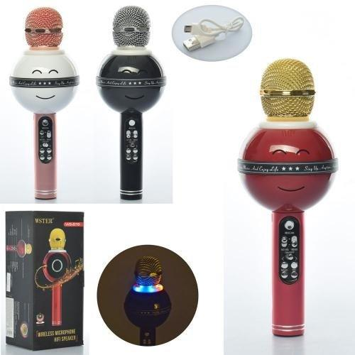 KMX13373 Микрофон   25см,свет,MP3,Bluetooth,SDслот,запись,аккум,USB,микс цв,кор,12,5-27,5-10,5см