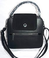 Женский черный клатч, саквояж с замшевым клапаном и лаковыми боками 22*20 см