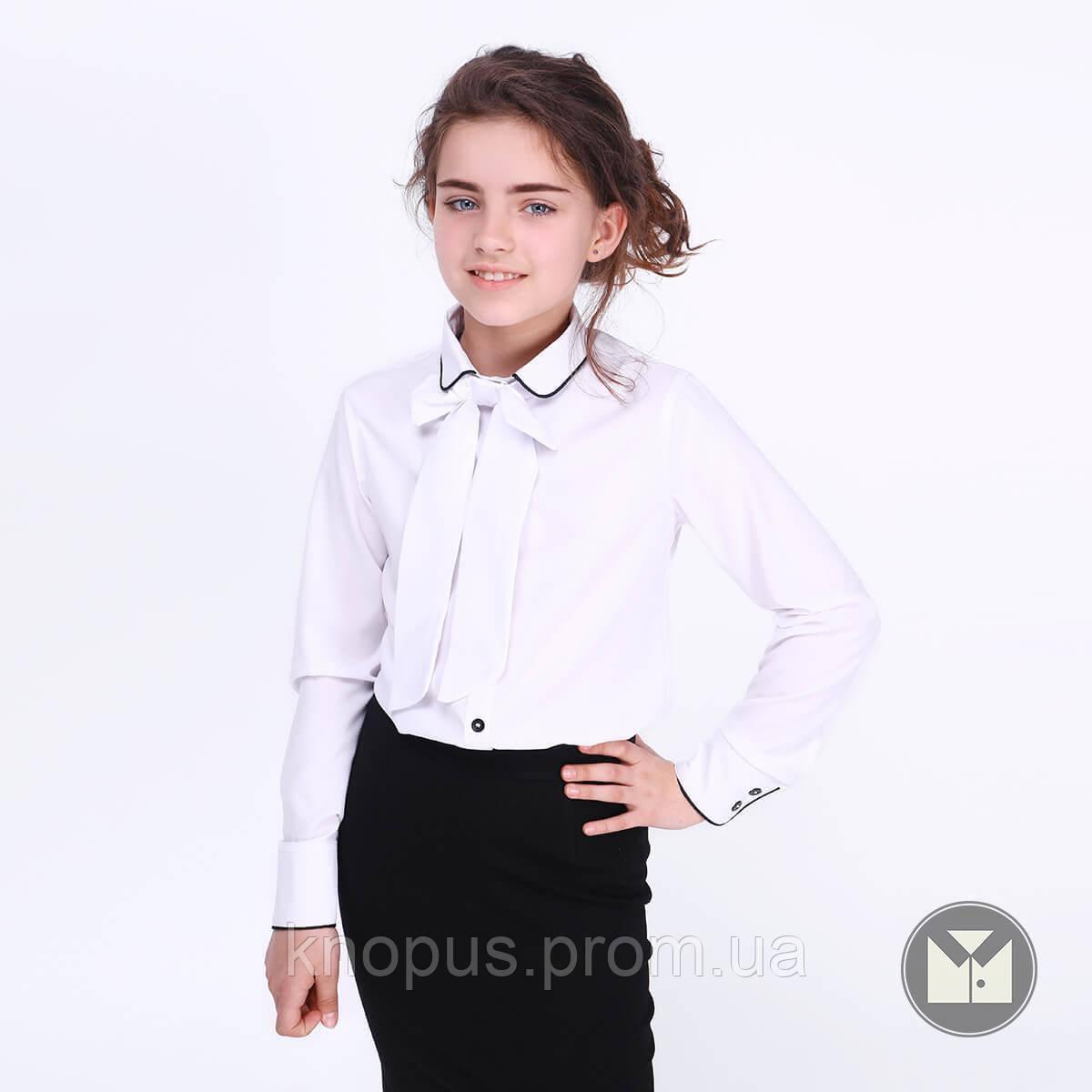 Блуза  белая с длинным рукавом, съемный белый бант, Selena, Тимбо