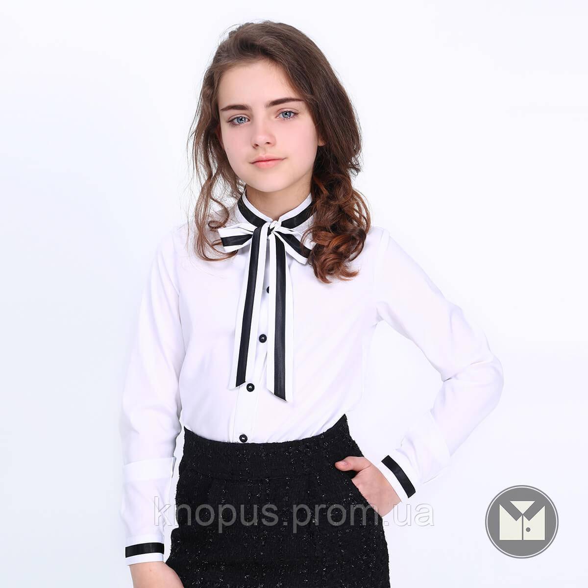 Блуза  белая с длинным рукавом, воротник стойка,  бант, Sandra, Тимбо
