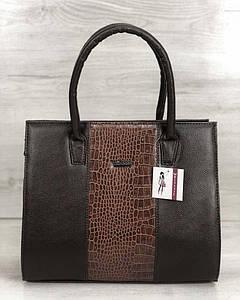 Женская сумка Бочонок коричневого цвета со рыжий крокодил