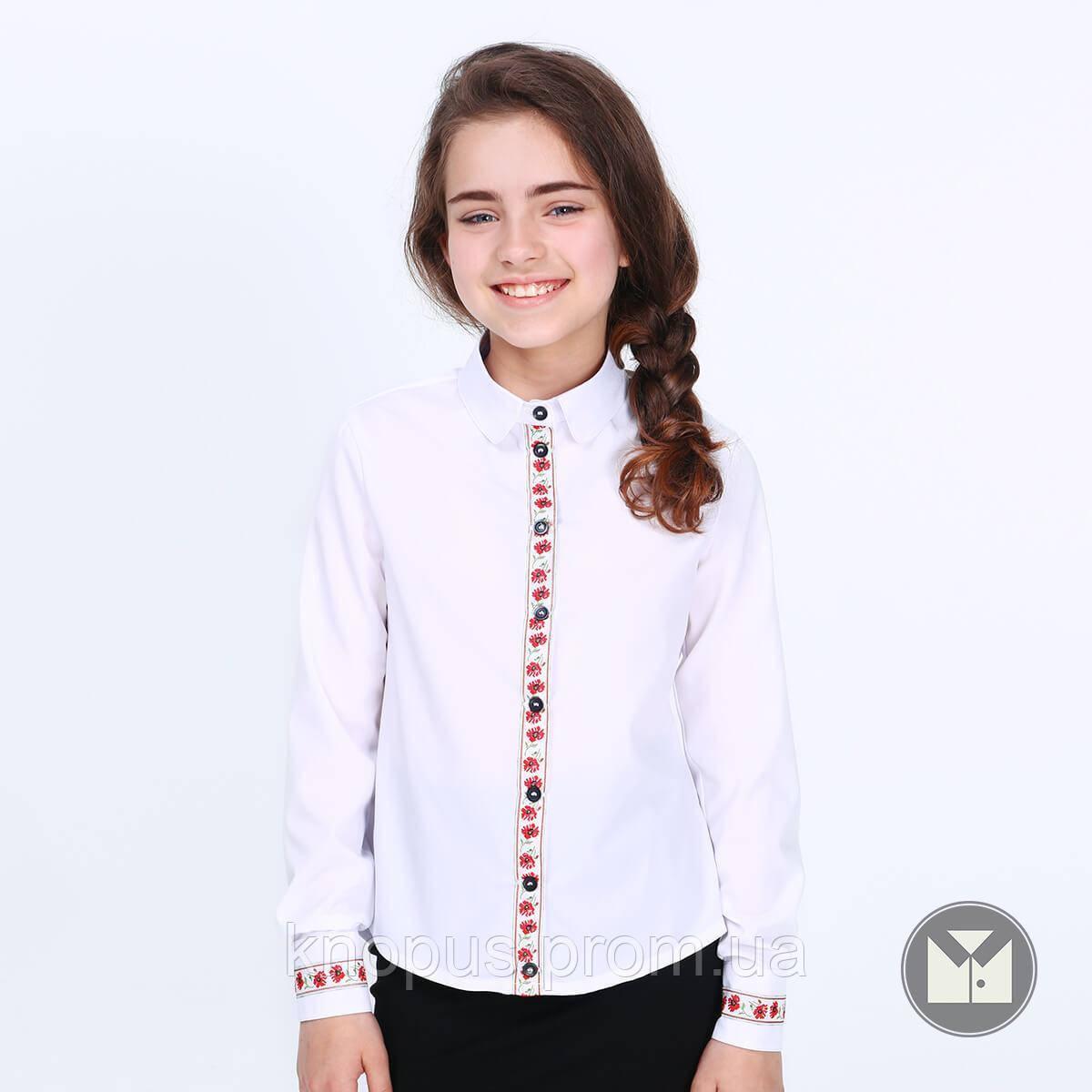 Блуза  белая с длинным рукавом, Вышиванка, Zoryana, Тимбо