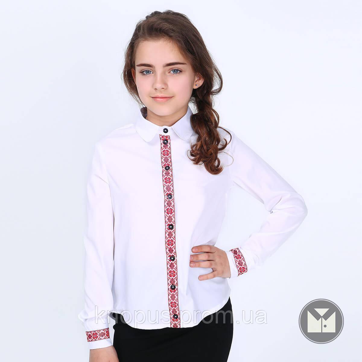 Блуза  белая с длинным рукавом, Вышиванка, Solomiya, Тимбо
