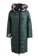 Зимнее женское пальто  большого размера 48-56 зеленый