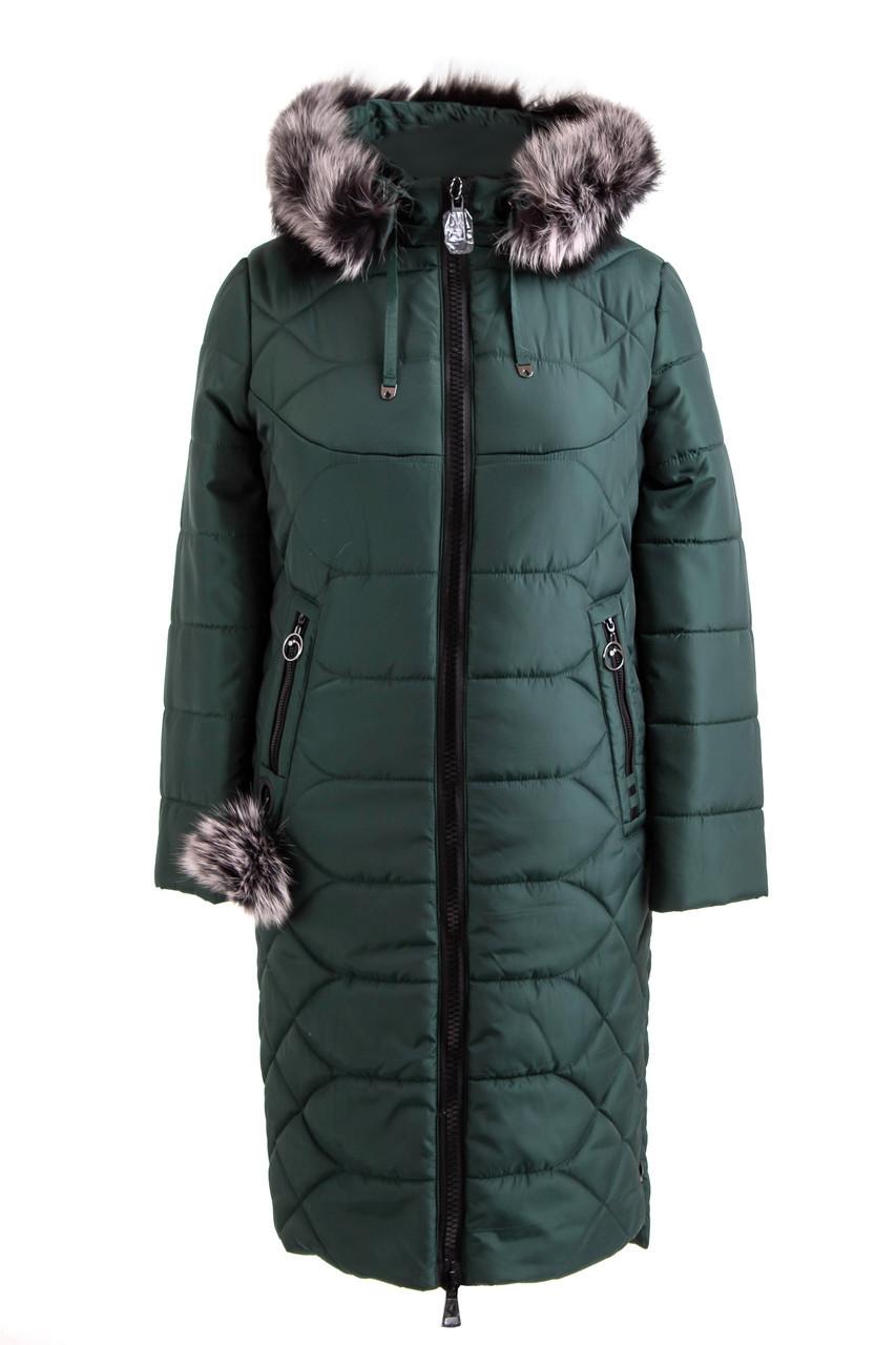 Зимове жіноче пальто великого розміру 48-56 зелений