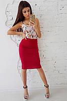 Комплект: Бордовая юбка карандаш и шелковая майка