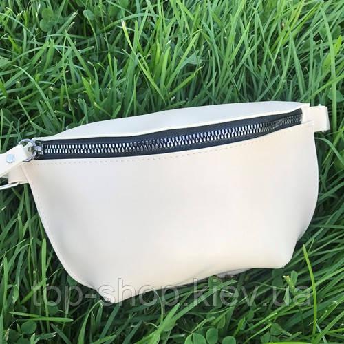 Жіноча сумка на пояс (бананка) з екошкіри крос боді