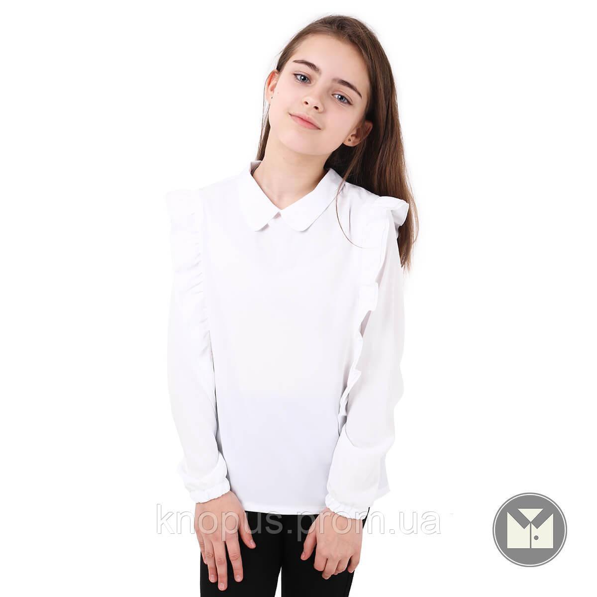 Блуза  белая с длинным рукавом с воланами Milena, Katrin, Тимбо