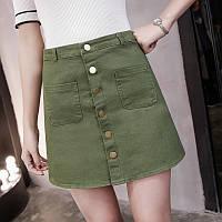 Женская юбка Coardiarn трапеция на пуговицах зеленая (хаки) L, фото 1
