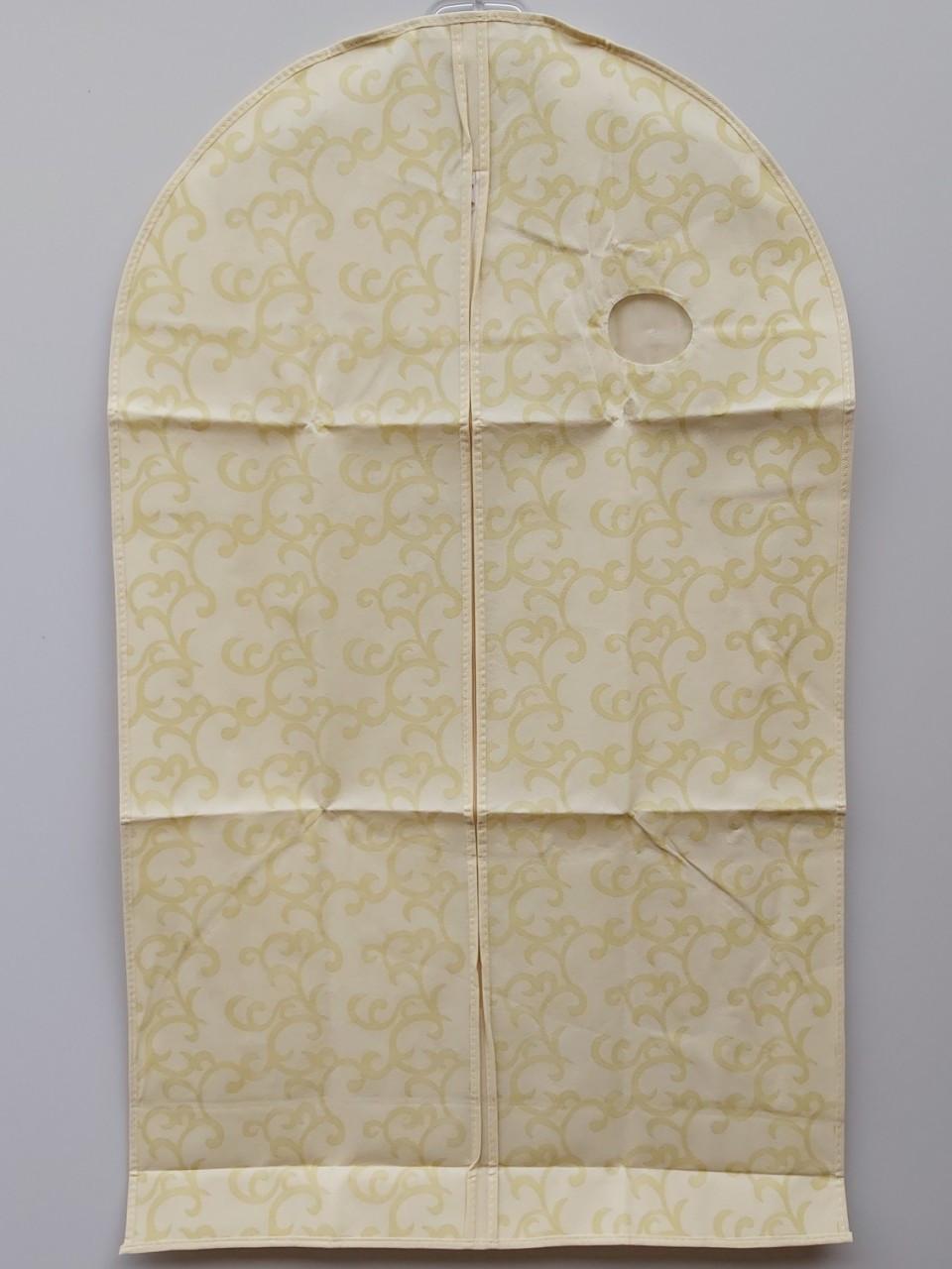 Чехол для хранения одежды флизелиновый на молнии бежевого цвета с узором, размер 60*100 см