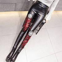 Женские теплые лосины Yuetu из эко-кожи с красными пайетками черные, фото 1
