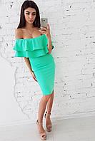 Мятное облегающее платье  с двойной оборкой