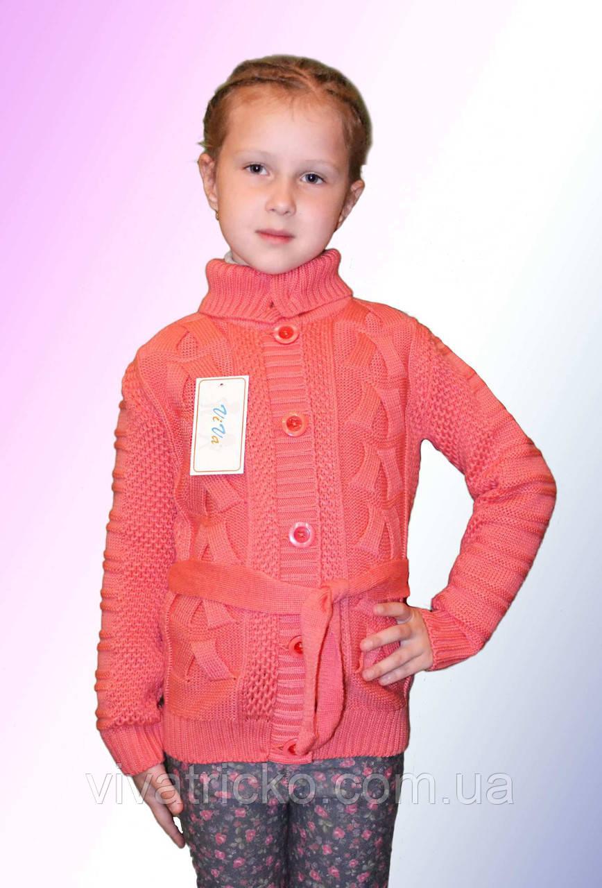 Вязаная кофта для девочек на пуговицах р 122-140 м 0117, разные цвета