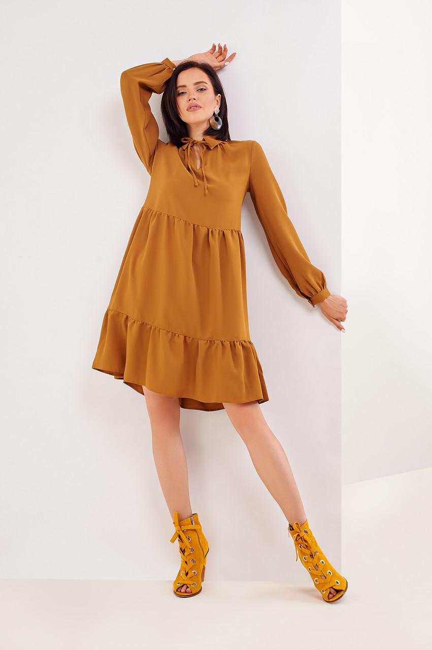 Шикарное платье горчичного цвета