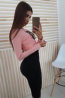 Комплект: Черная юбка карандаш и розовый топ с нашивкой Тигр