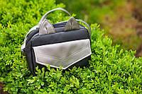 Женскаякожаная маленькая сумка черная с серебром МурE009