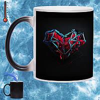 Кружка хамелеон Сердце супергероя 330мл, фото 1