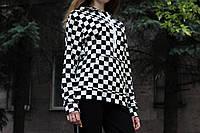 Женское худи реглан шахматка ЧБ Турция