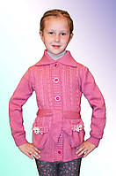 Вязаная теплая кофта на пуговицах для девочки м 9635, р 122-140, разные цвета