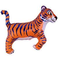 Фольгированный шар Тигр 78см х 104см Оранжево-черный № 2