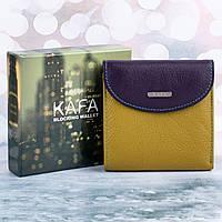 Маленький кожаный женский кошелек Kafa с RFID защитой (419 violet-light green)