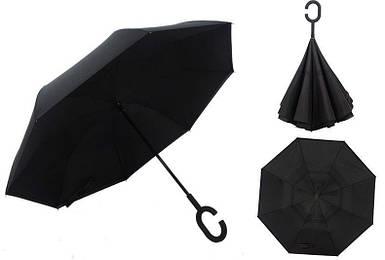 Ветрозащитный зонт обратного сложения Up-Brella черный однотонный. Зонт наоборот (обратный зонт, антизонт).