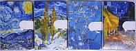 """Блокнот на магните A6 9701S-15L """"Картины Ван Гога"""", 9,5х14,5см кож.зам цветной торец 144листа линия уп12"""