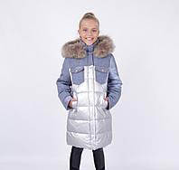 Детский зимний пуховик для девочки от ANERNUO | 130-170р. мех натуральный
