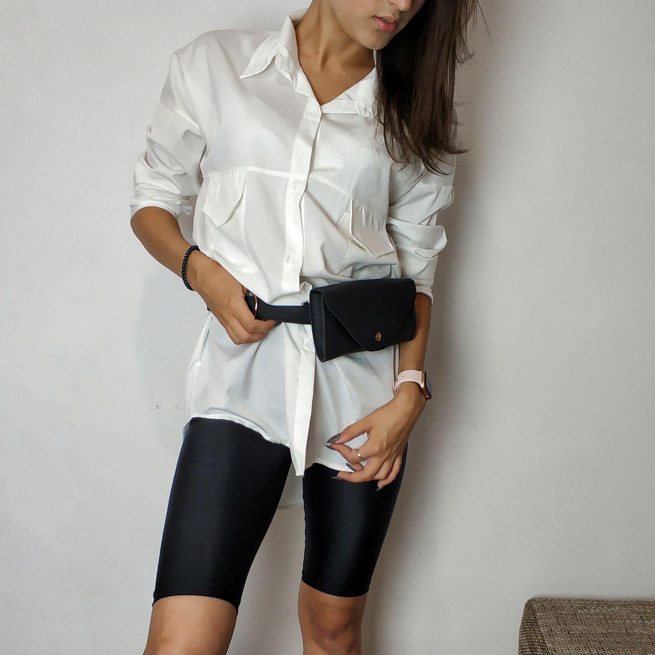 Рубашка белая  базовая  удлиненная оверсайз фото в  живую