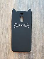Объемный 3D силиконовый чехол для Meizu M6 Note Усатый кот черный