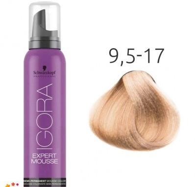 Тонирующий мусс для волос Schwarzkopf Professional Igora Expert Mousse 100 мл 9,5-17 Платиновый блондин сандрэ медный