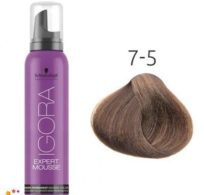 Тонирующий мусс для волос Schwarzkopf Professional Igora Expert Mousse 100 мл 7-5 Средний русый золотистый