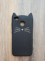 Объемный 3d силиконовый чехол для Xiaomi Redmi 4x Усатый кот черный