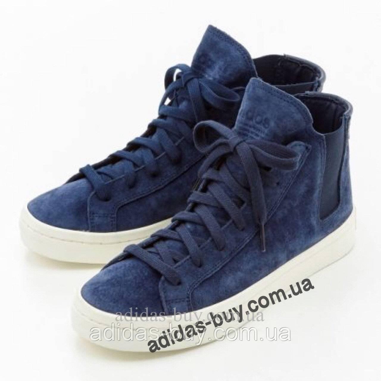 Кроссовки кеды женские оригинал adidas COURTVANTAGE из замша S79959 цвет: синий из замша сезон:весна 37 размер