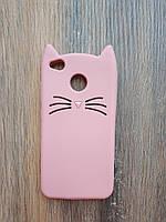 Объемный 3d силиконовый чехол для Xiaomi Redmi 4x Усатый кот розовый