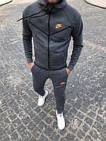 Мужской спортивный костюм Nike серый на флисе осень/зима