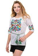 Женская летняя блуза вышиванка Колодочки, ткань хлопок,  р-р 42,44,46,48 белая (012156) вишиванка українська