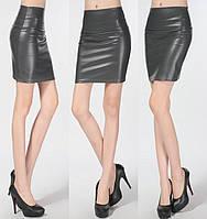 Женская юбка Coardiarn из экокожи утепленная темно-серая M, фото 1