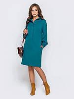 Платье-рубашка голубое женское до колена с длинным рукавом 44 46 48 50 52 54 56 58
